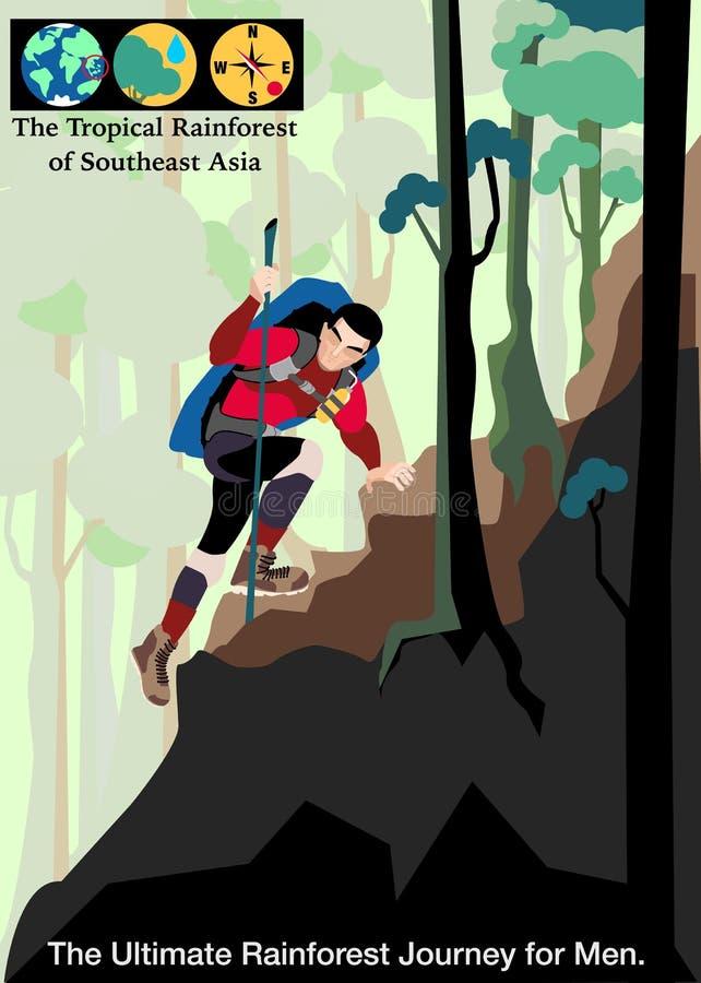 Вектор путешествием иллюстрации, тропический тропический лес Юго-Восточной Азии иллюстрация вектора