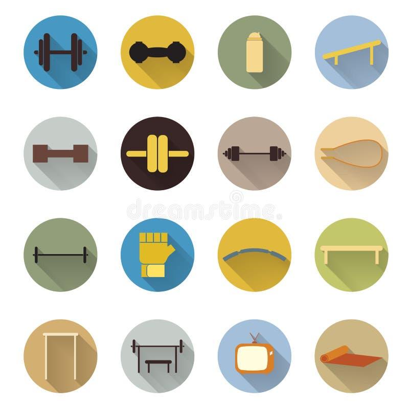 Вектор плоских спорта и здоровья фитнеса значка дизайна иллюстрация вектора