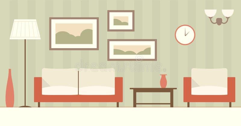 Вектор плоско внутренний живущей комнаты иллюстрация вектора