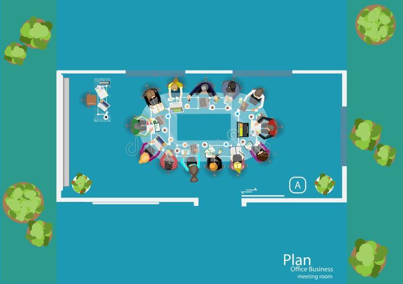 Вектор работает побежка для деловых встреч и метода мозгового штурма Знамена концепции и сети плана анализа, печатные СМИ и перед бесплатная иллюстрация