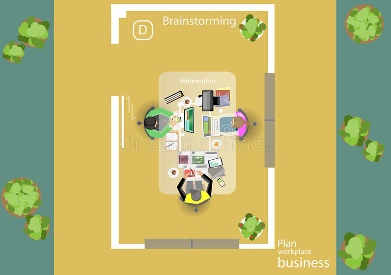 Вектор работает побежка для деловых встреч и метода мозгового штурма Знамена концепции и сети плана анализа, печатные СМИ и перед иллюстрация штока