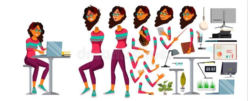 Вектор работника офиса Женщина Счастливый клерк, холопка, работник Араб, саудовская персона бизнес-леди Дама Сторона Эмоция иллюстрация штока