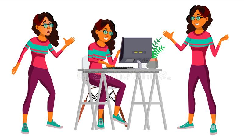 Вектор работника офиса Женщина Счастливый клерк, холопка, работник Человек дела apse saudi Эмоции стороны, различные бесплатная иллюстрация
