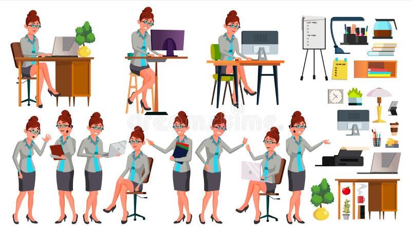 Вектор работника офиса Женщина Успешный офицер, клерк, холопка представления ситуации секретарша Работник бизнес-леди иллюстрация вектора