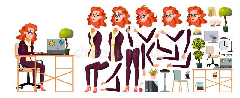 Вектор работника офиса Женщина Человек бизнесмена Дама Сторона Эмоция, различные жесты Комплект творения анимации изолировано иллюстрация вектора