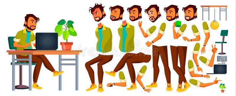 Вектор работника офиса индийско Эмоции, жесты Комплект творения анимации Генератор образа жизни портрет персоны счастья бизнесмен бесплатная иллюстрация