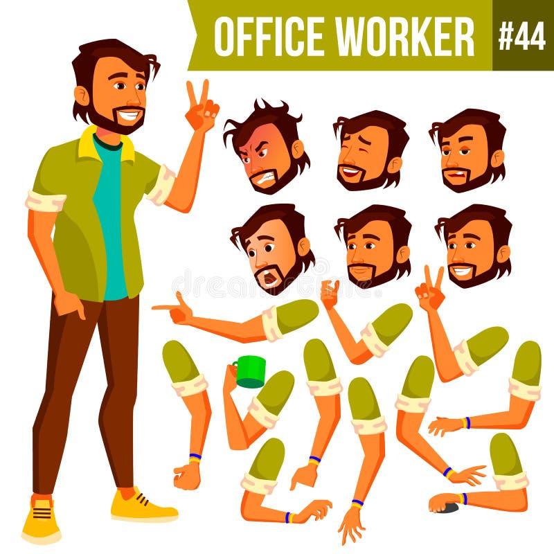 Вектор работника офиса индийско Эмоции стороны, различные жесты Комплект творения анимации человек предпосылки изолированный дело иллюстрация вектора