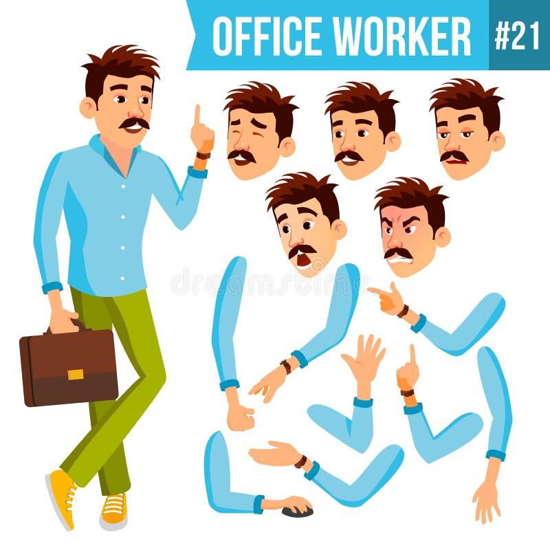 Вектор работника офиса Эмоции, жесты Комплект творения анимации портрет персоны счастья бизнесмена дела карьера E иллюстрация штока