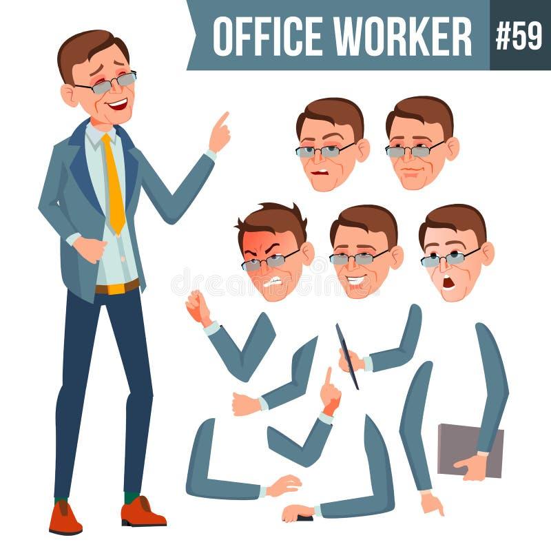 Вектор работника офиса Эмоции, жесты Комплект творения анимации портрет персоны счастья бизнесмена дела карьера E иллюстрация вектора