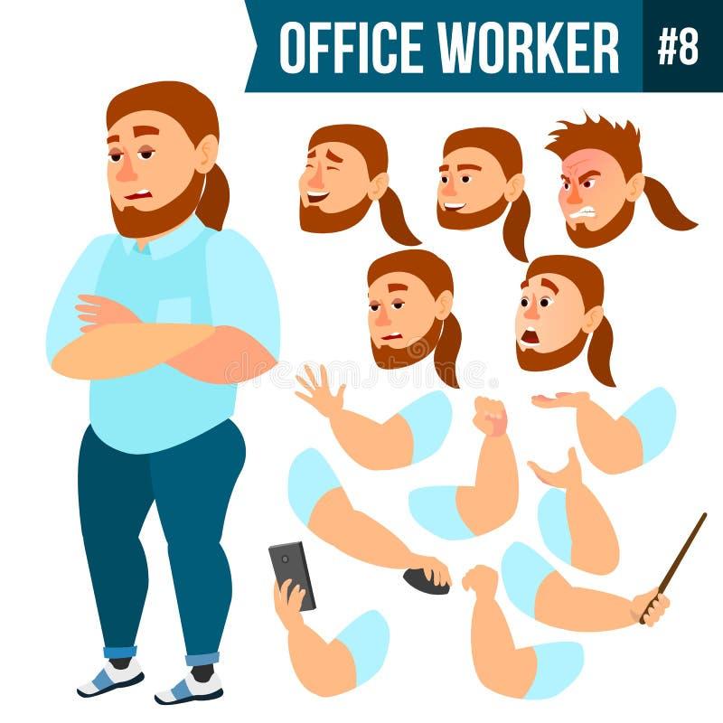 Вектор работника офиса Эмоции стороны, различные жесты Комплект творения анимации портрет персоны счастья бизнесмена дела карьера иллюстрация вектора
