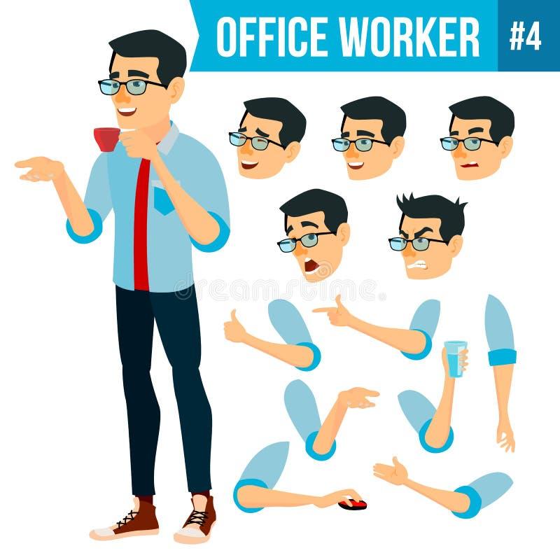 Вектор работника офиса Эмоции стороны, различные жесты Комплект творения анимации Человек дела Усмехаясь менеджер, холопка иллюстрация штока