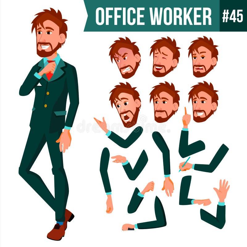 Вектор работника офиса Эмоции стороны, различные жесты Комплект творения анимации Взрослый мужчина дела Успешное корпоративное иллюстрация вектора
