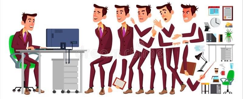 Вектор работника офиса Эмоции стороны, различные жесты Персона бизнесмена Усмехаясь исполнительная власть, холопка, рабочий класс иллюстрация штока