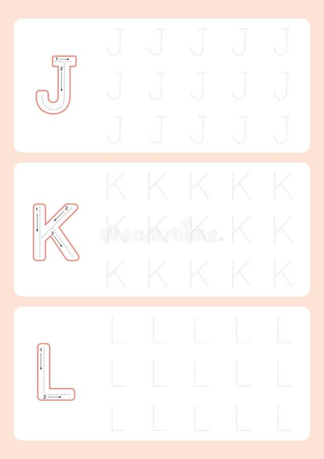 Вектор рабочего листа трассировки алфавита рабочих листов писем детского сада следуя бесплатная иллюстрация