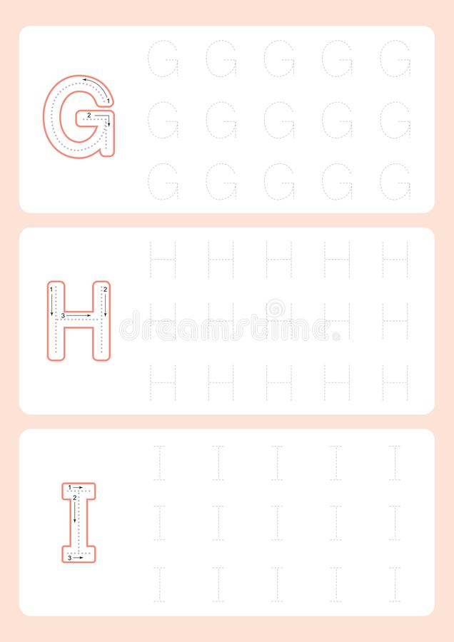 Вектор рабочего листа трассировки алфавита рабочих листов писем детского сада следуя иллюстрация штока
