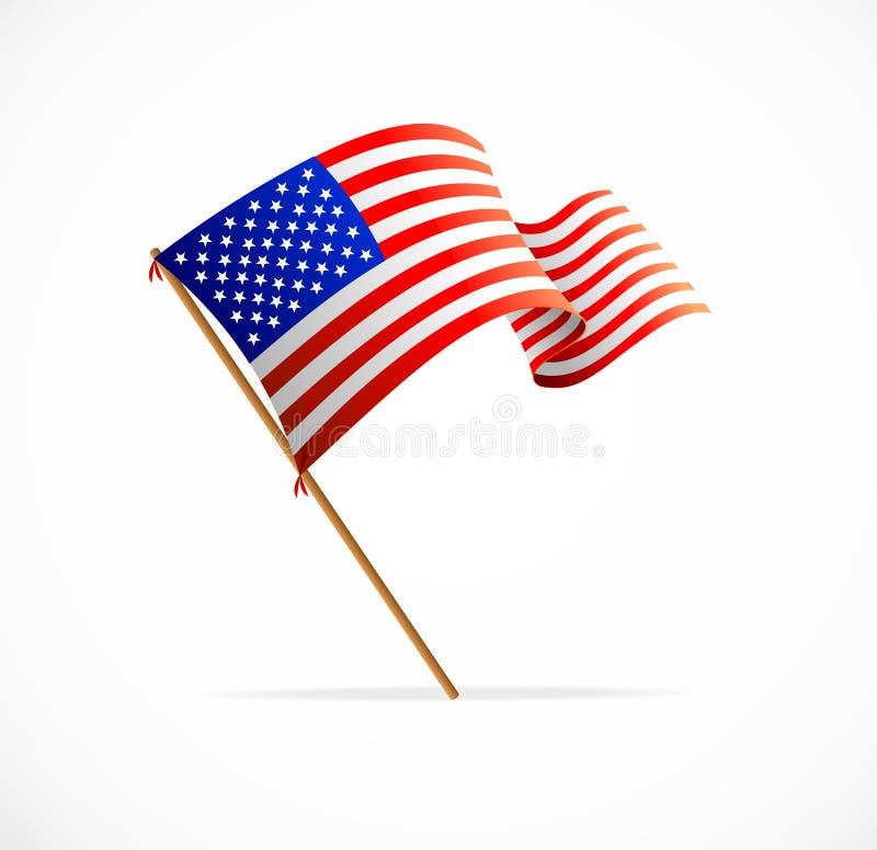Вектор развевая американский флаг (флаг США) иллюстрация штока