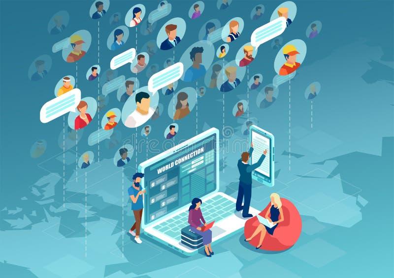 Вектор разнообразных людей подключая во всем мире используя современную технологию иллюстрация вектора
