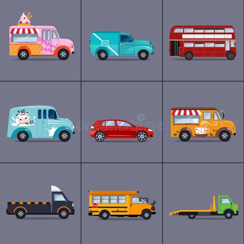 Вектор различных автомобилей городского и города, кораблей иллюстрация вектора