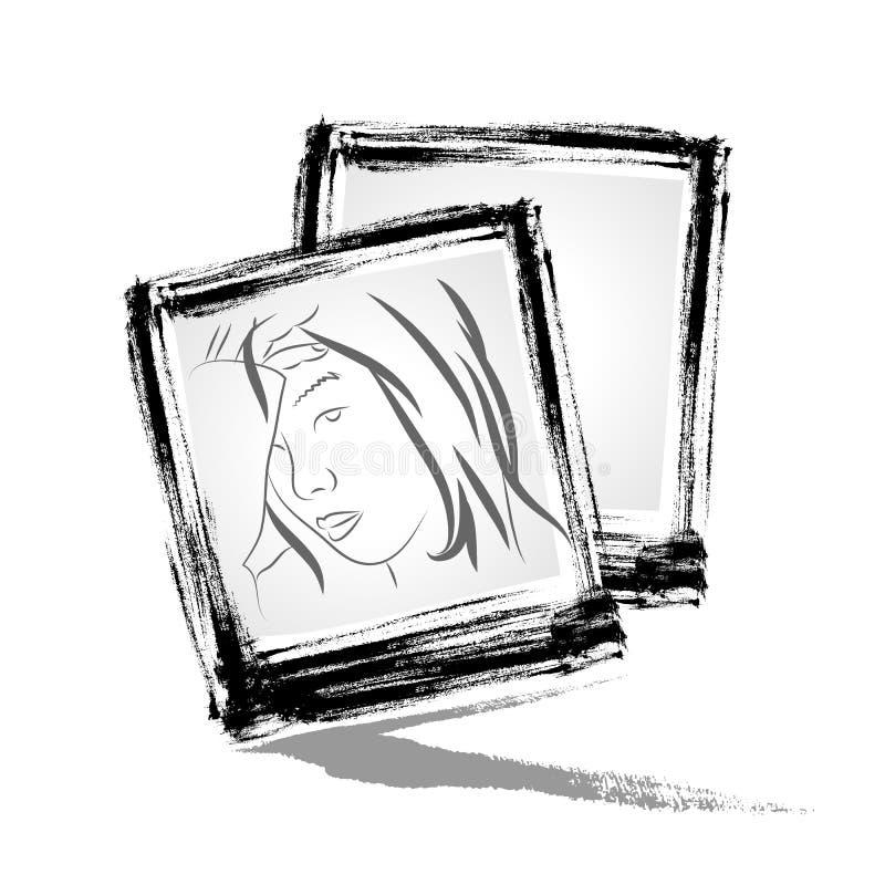 Вектор: Рамка фото с типом brushwork иллюстрация штока