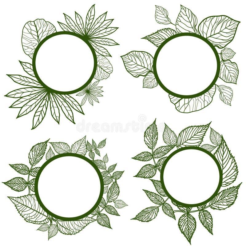 вектор рамок осени установленный листьями иллюстрация вектора