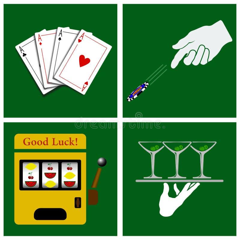 вектор растра иллюстрации казино установленный иллюстрация штока