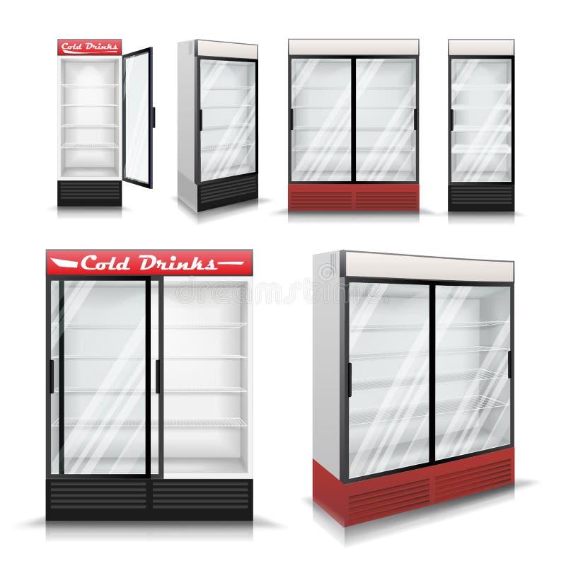 Вектор реалистического холодильника установленный охлаждая пить Замораживатель холодильника с прозрачным стеклом иллюстрация иллюстрация штока