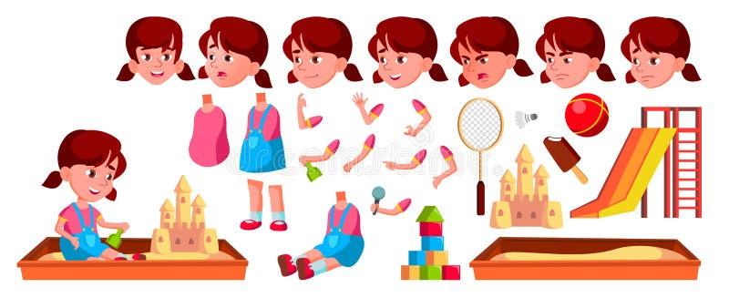 Вектор ребенк детского сада девушки Комплект творения анимации r Кавказское выражение ребенка активизма для иллюстрация штока