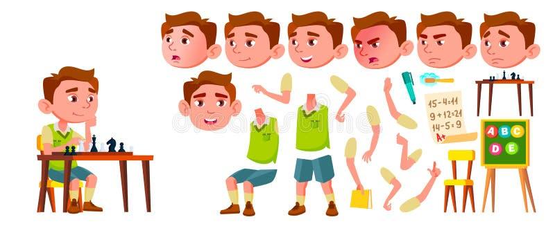 Вектор ребенк детского сада мальчика Комплект творения анимации r Кавказское выражение ребенка активизма для иллюстрация вектора