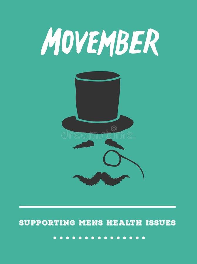 Вектор рекламы Movember с текстом и графиком иллюстрация штока