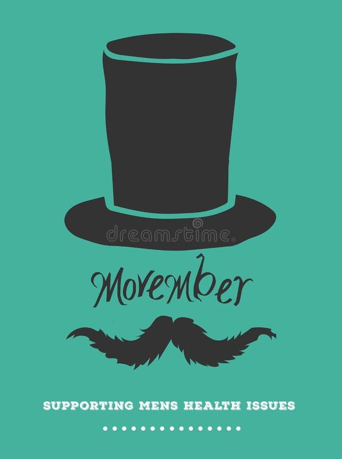 Вектор рекламы Movember с текстом и графиком иллюстрация вектора