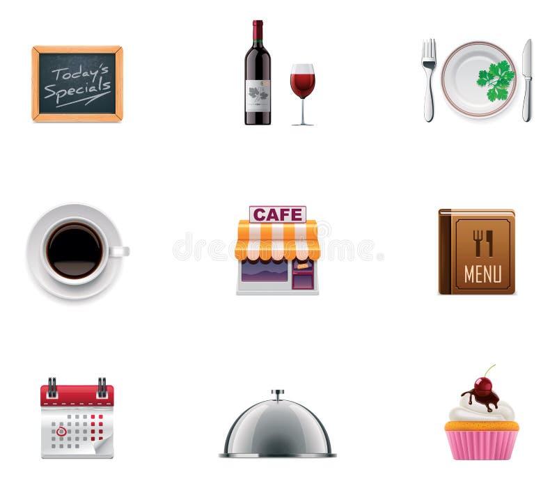 вектор ресторана иконы установленный иллюстрация штока