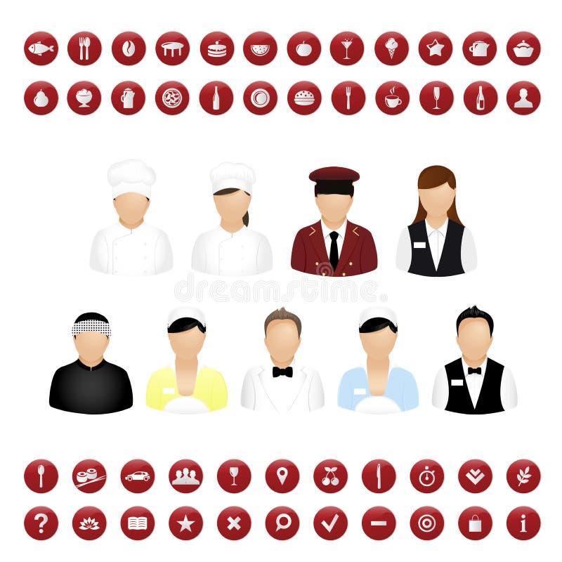 вектор ресторана людей карты икон установленный иллюстрация штока