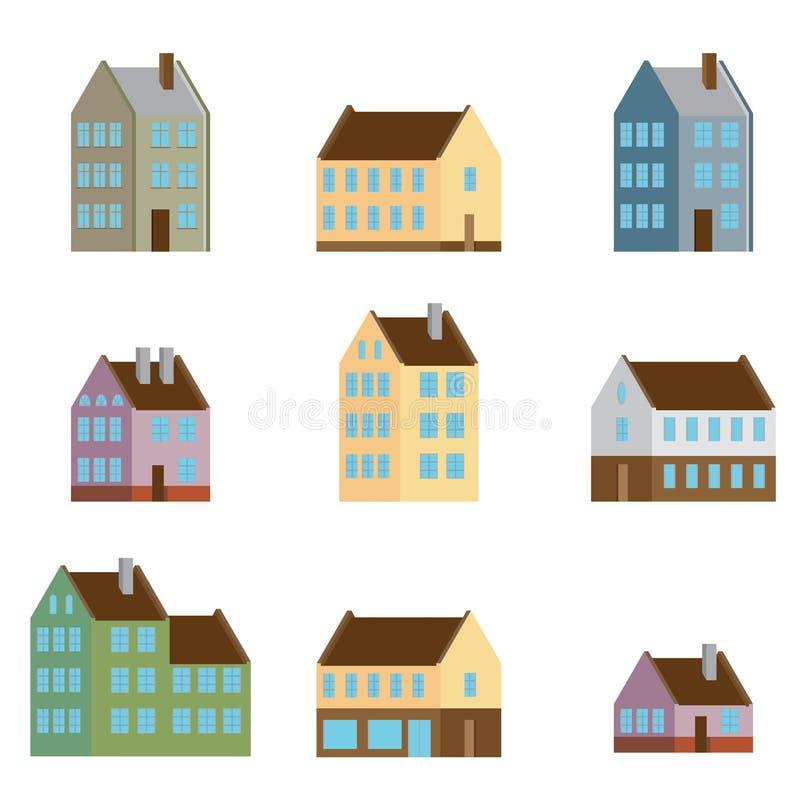 Вектор ретро плоского комплекта значков и символов дома иллюстрация вектора
