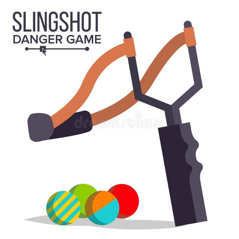 Вектор рогатки Значок рогатки шаржа Пейнтбол, игра ребенка Эластичная игрушка опасности изолированная иллюстрация руки кнопки наж иллюстрация вектора