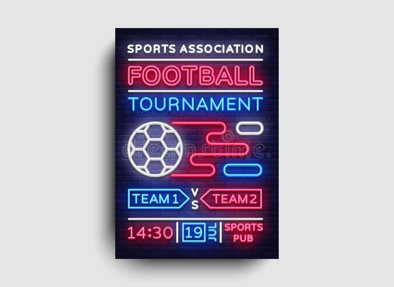 Вектор рогульки турнира футбола Европейский плакат чемпионата футбола, неоновая вывеска, шаблон дизайна для брошюры для иллюстрация штока