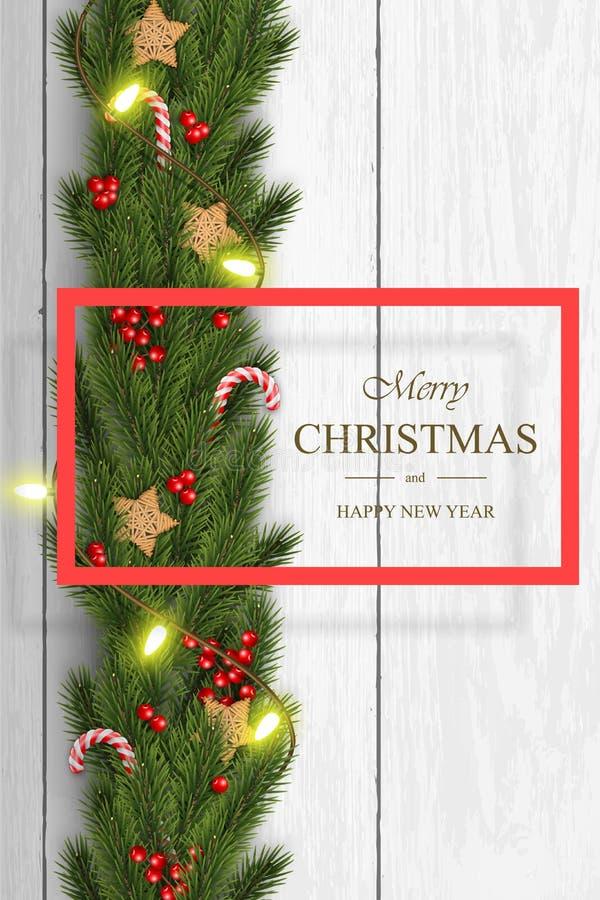 Вектор рождества на белой деревянной предпосылке с желаниями, ветвями сосны иллюстрация штока