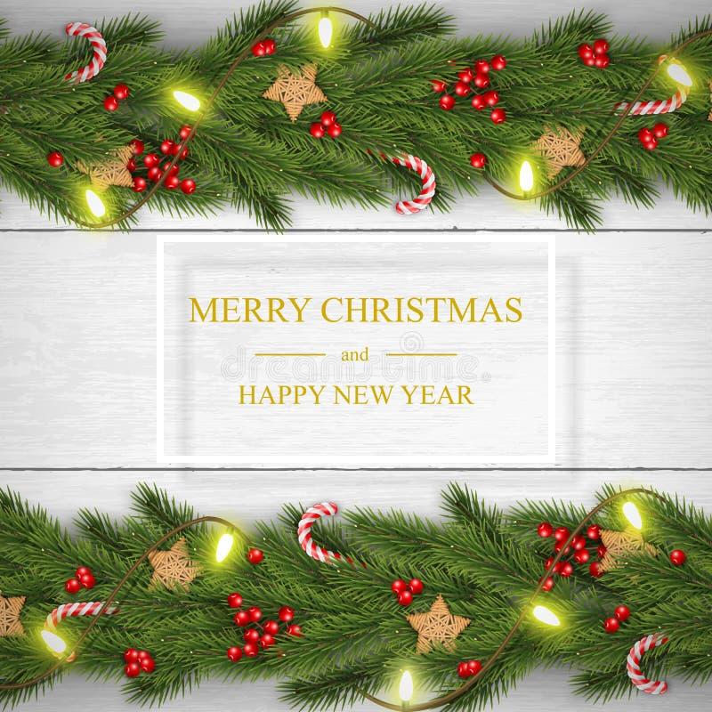 Вектор рождества на белой деревянной предпосылке с желаниями, звездах сосны деревянных бесплатная иллюстрация