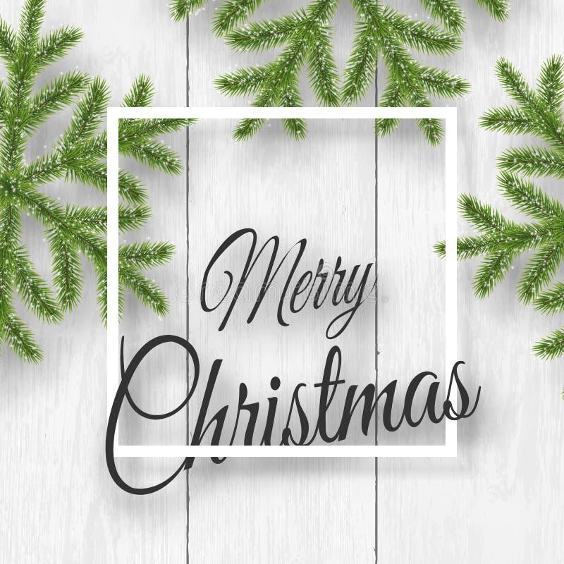 Вектор рождества на белой деревянной предпосылке с желаниями, хлопьях сосны иллюстрация вектора