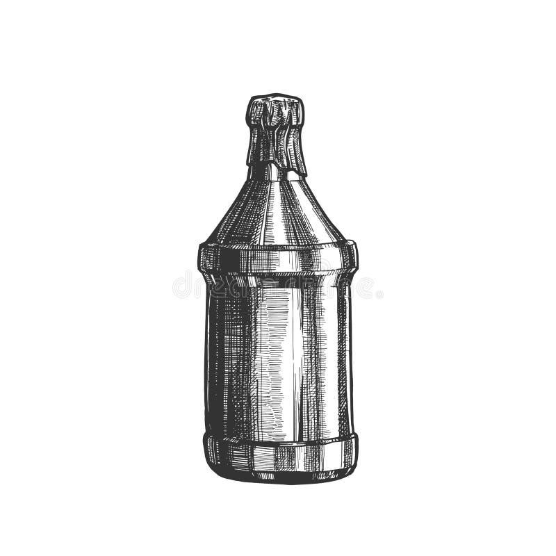 Вектор руки вычерченной пустой покрытый пивной бутылкой верхний иллюстрация штока