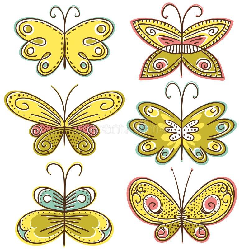 вектор руки 6 притяжки бабочек иллюстрация штока