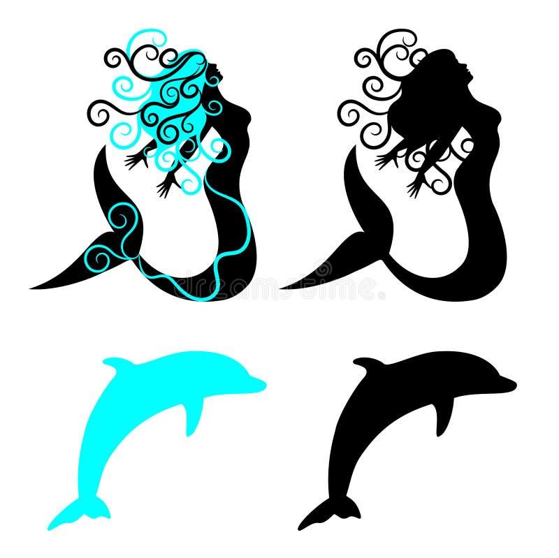 Вектор русалки и дельфина иллюстрация вектора