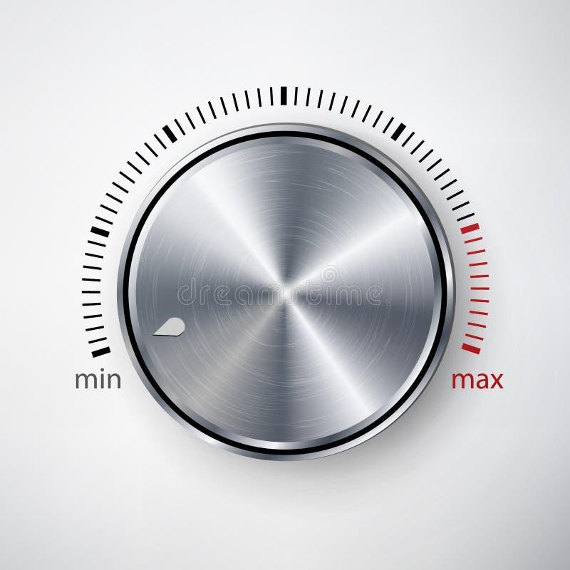 Вектор ручки шкалы Глобальные образцы Реалистическая кнопка металла с обрабатывать и тенью циркуляра иллюстрация вектора