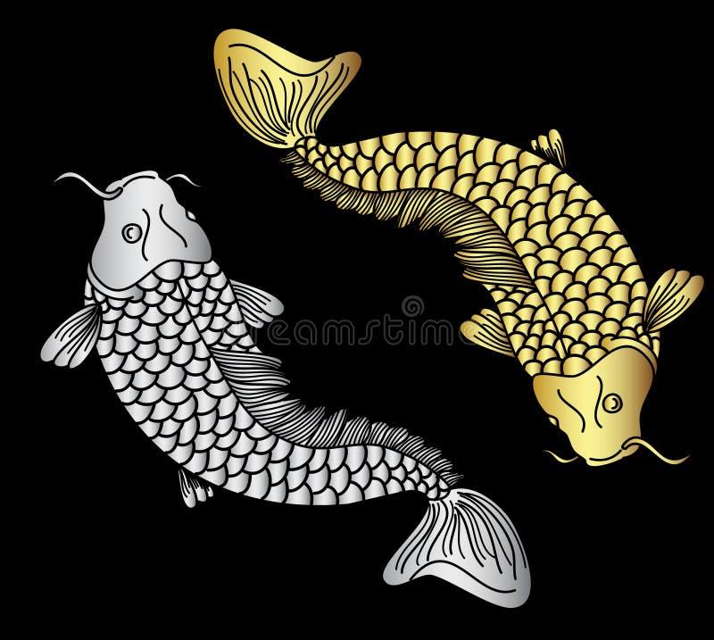 Вектор рыб koii золота и серебра бесплатная иллюстрация