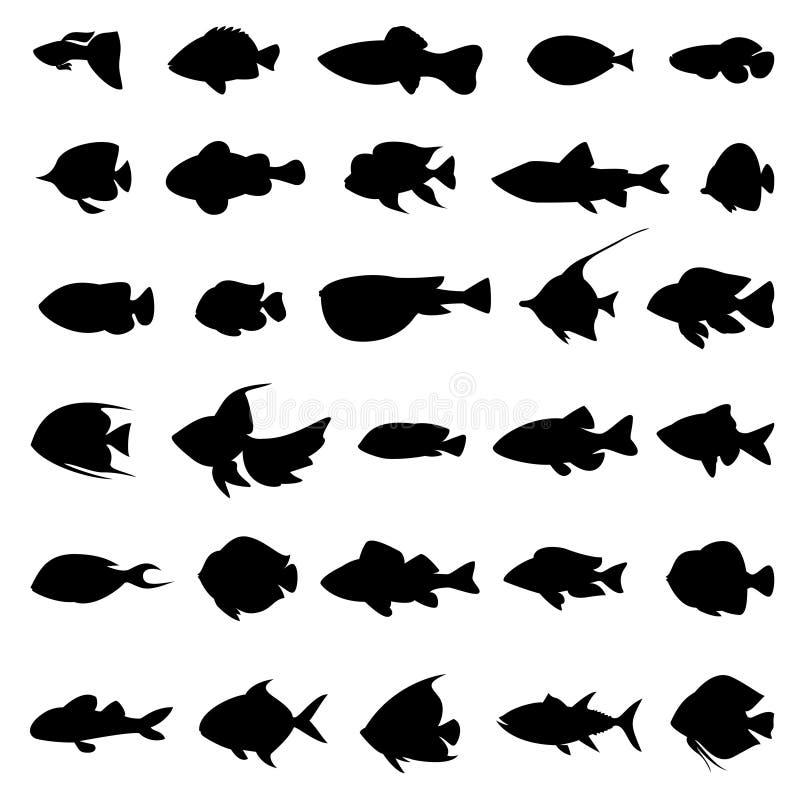 Вектор рыб silhouettes черным по белому бесплатная иллюстрация