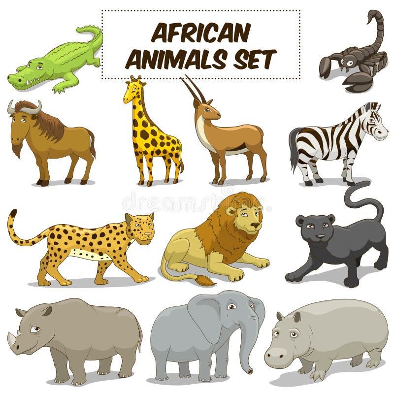 Вектор саванны шаржа африканскими установленный животными бесплатная иллюстрация