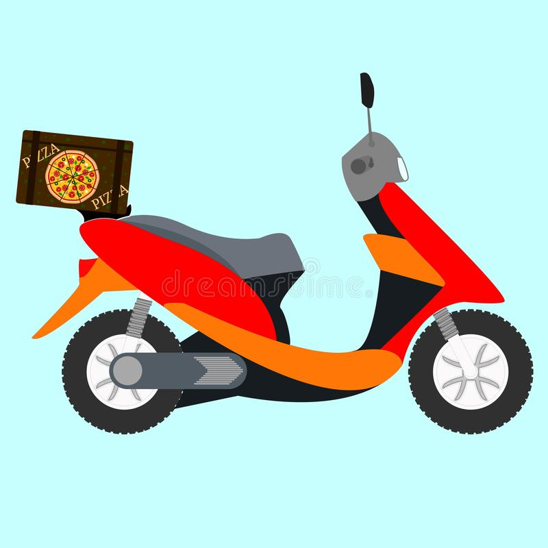 Вектор самоката пиццы Концепция быстрого обслуживания поставки пиццы на самокате или мотоцилк иллюстрация штока