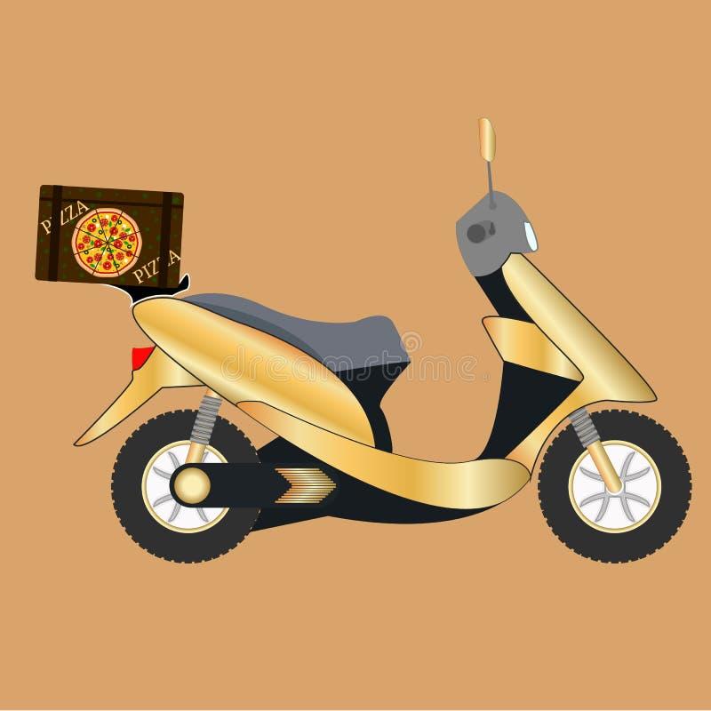 Вектор самоката пиццы Концепция быстрого обслуживания поставки пиццы на самокате или мотоцилк иллюстрация вектора