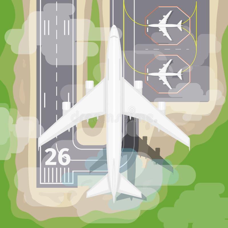 Вектор самолета посадки бесплатная иллюстрация