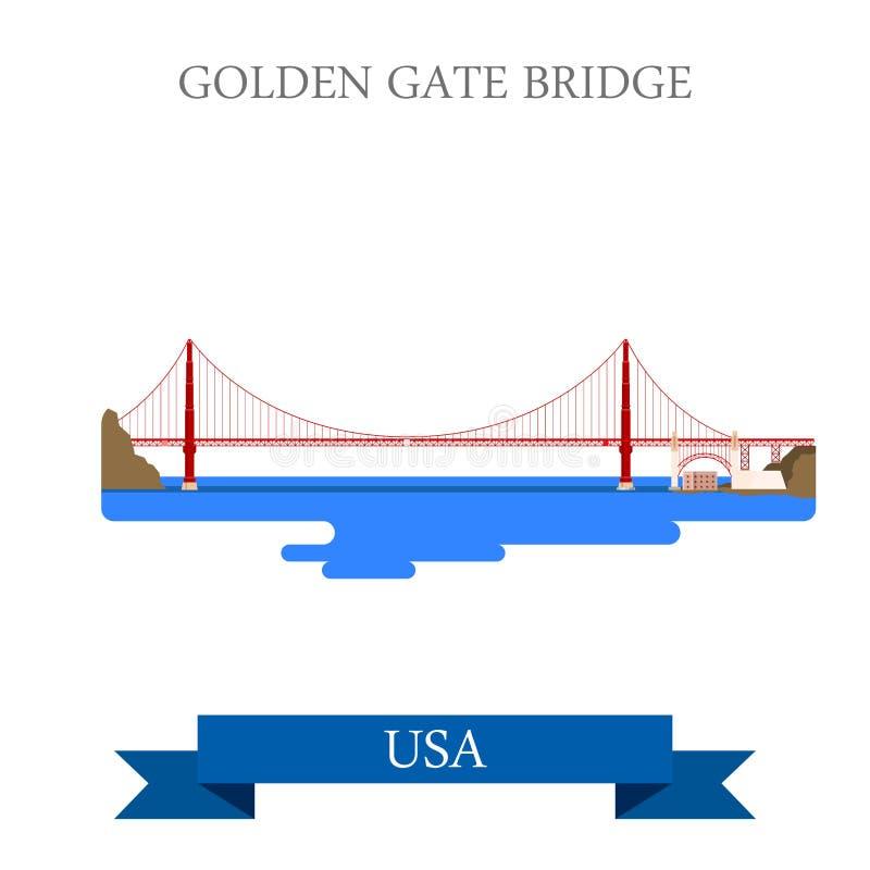 Вектор Сан-Франциско Соединенных Штатов США моста золотого строба плоский иллюстрация штока