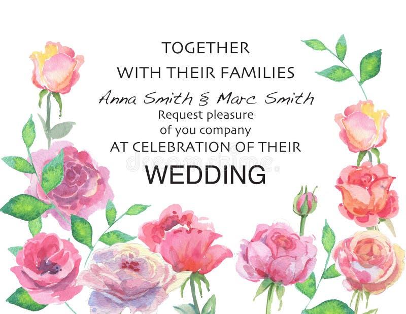 Вектор свадьбы флористический приглашает приглашение спасибо, дизайн акварели карточки бесплатная иллюстрация